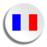 French flag in round white button with shadow Royalty Free Stock Photos