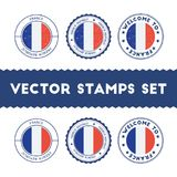 French flag rubber stamps set. National flags grunge stamps. Country round badges collection Stock Photo