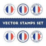 French flag rubber stamps set. Stock Image