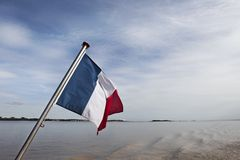 French flag on a ship Stock Photo