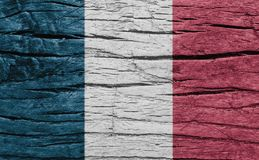 France national flag on wood texture background. Royalty Free Stock Image