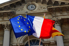 French flag. The French flag, the town hall building Stock Photos