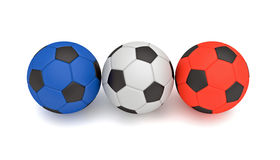 French flag, Tricolor soccer balls, 3d illustration Royalty Free Stock Image