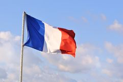 French Flag or Tricolore. The tricolore or French flag on a summer day Royalty Free Stock Photos