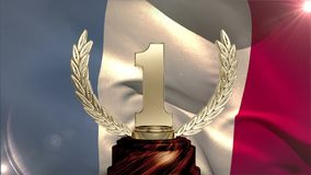 French Flag video. First Place Throphy against french flag background stock footage
