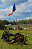 French Flag waves at a French camp. Royalty Free Stock Images