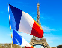 French flag waving in Paris, France.  Royalty Free Stock Image