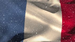 French flag waving in the snow. Digital composite of French flag waving in the snow with the sky in the background stock video footage