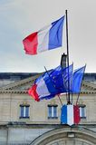 French flags in front of building Royalty Free Stock Images
