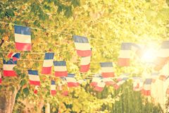 French flags garland, plane trees and sun background. In a village square stock photo