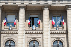French flags outside windows Royalty Free Stock Images