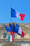 French flags in Paris Stock Photo