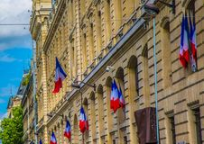 French flags on a police station at Paris. France Stock Images