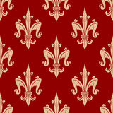 French fleur-de-lis seamless floral pattern Royalty Free Stock Image