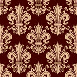 French fleur-de-lis seamless pattern background. Seamless filigree fleur-de-lis pattern with pale pink victorian stylized lily flowers adorned by flourishes and Royalty Free Stock Image