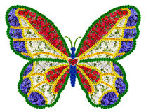 French floral butterfly as memory symbol. French butterfly as memory symbol of the victims of terrorism. On wings of color of the French flag. Isolated abstract Royalty Free Stock Images