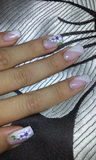 French floral nail art manicure Stock Photos