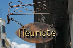 French Florist Sign Stock Photography