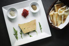 French foie gras starter with toast Stock Photography