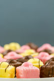 French Fondant Fancies, a type of Petit Four Stock Image