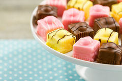 French Fondant Fancies, a type of Petit Four Royalty Free Stock Images