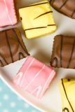 French Fondant Fancies, a type of Petit Four Royalty Free Stock Photo
