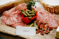 French food buffet with salami Stock Image