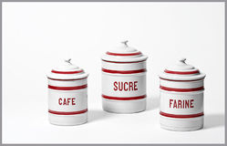 French food canisters Royalty Free Stock Photography