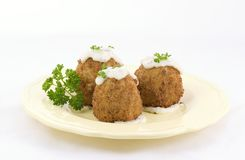 French food, croquettes. Wow, did they not come out looking good, I surprised myself with this meal, I have not made croquettes in forty years. I used ground royalty free stock photo