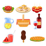 French Food Icons Set Royalty Free Stock Photo