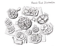 French food illustration. Escargot, mussles, foie gras, duck and other delicious stuffs Stock Photography