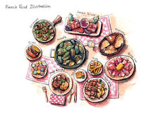 French food illustration. Escargot, mussles, foie gras, duck and other delicious stuffs Royalty Free Stock Photography