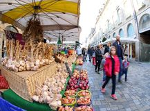 French food market. In Fougeres Royalty Free Stock Photo