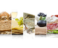 French Food Mix. Photo of mix stripes with French Food and ingredients; healthy eating concept; white space for text Stock Photo