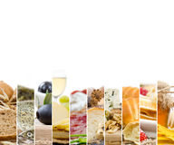 French Food Mix. Photo of mix stripes with French Food and ingredients; healthy eating concept; white space for text Royalty Free Stock Photos