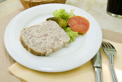 French food pate terrine of rabbit   photographed in Paris Franc Royalty Free Stock Photo
