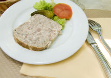 French food pate terrine of rabbit   photographed in Paris Franc Royalty Free Stock Images