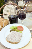 French food pate terrine of rabbit with red wine in cafe photogr Stock Images