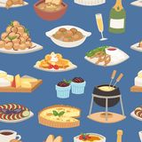 French food vector traditional delicious cuisine meal healthy dinner lunch continental frenchman gourmet plate dish. Seamless pattern food background Royalty Free Stock Photography