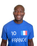 French football fan in blue jersey Stock Photos