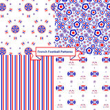 French football seamless patterns Royalty Free Stock Photos