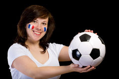 French football supporter with ball, isolated Royalty Free Stock Photo