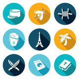 French Foreign Legion Icons Set. Vector Royalty Free Stock Photo