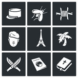 French Foreign Legion icons. Vector Illustration Royalty Free Stock Photo