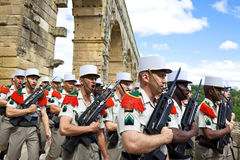 French Foreign Legion. Pont du Gard. NIMES, FRANCE - JULY 2: French Foreign Legion 2nd Foreign Infantry Regiment at inauguration ceremony at Pont du Gard Stock Photography