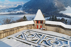 French formal garden and rampart at Gruyeres Castle. GRUYERE, SWITZERLAND - DECEMBER 31, 2014: French formal garden and rampart at Gruyeres Castle. It is one of royalty free stock photography