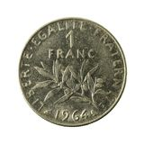 1 french franc coin 1964 obverse. Isolated on white background stock photography
