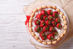 French Fresh Strawberry charlotte cake. horizontal top view stock image