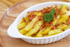 French fried  cheese and bacon. French fried bake with cheese and bacon Royalty Free Stock Photography