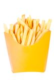 French fried chips. Fries. In the yellow box. On a white background Royalty Free Stock Images